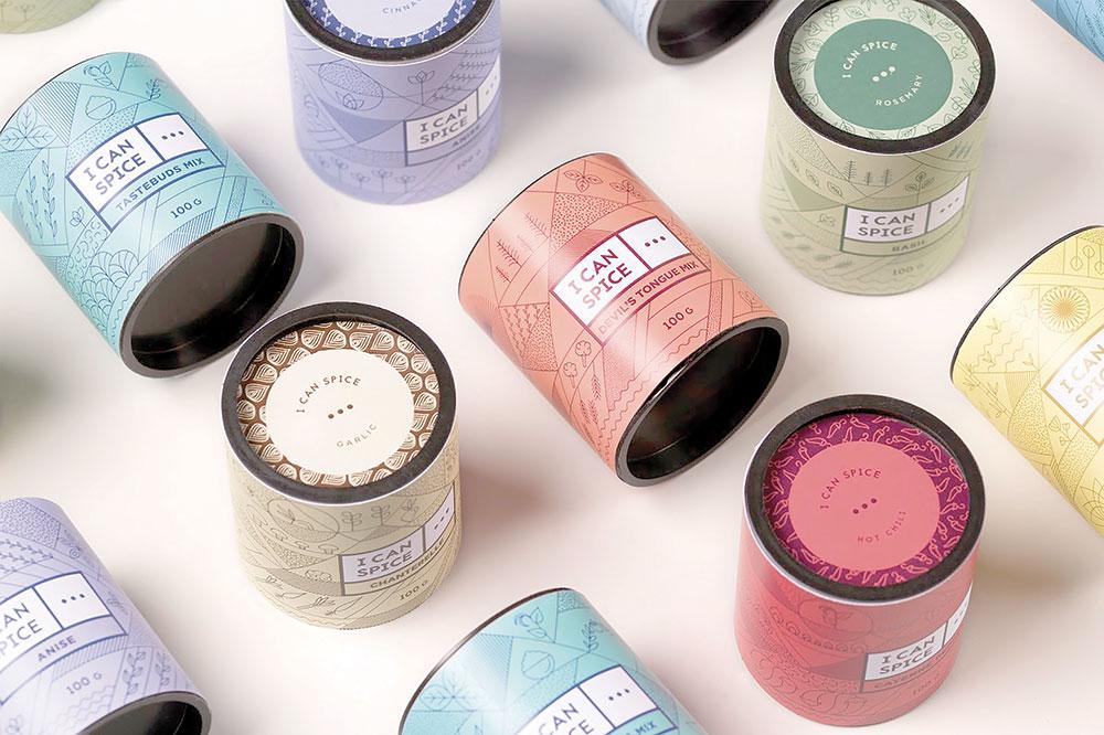 Design creat de Dekoratio Branding and Design Studio pentru I CAN SPICE, utilizând o schemă de culori diferite