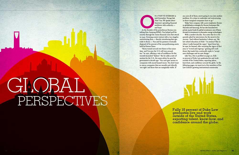 Grafică realizată de Harkness Design pentru Duke Law Magazine