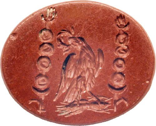 Vultur roman antic gravat în carneol, folosit ca sigiliu