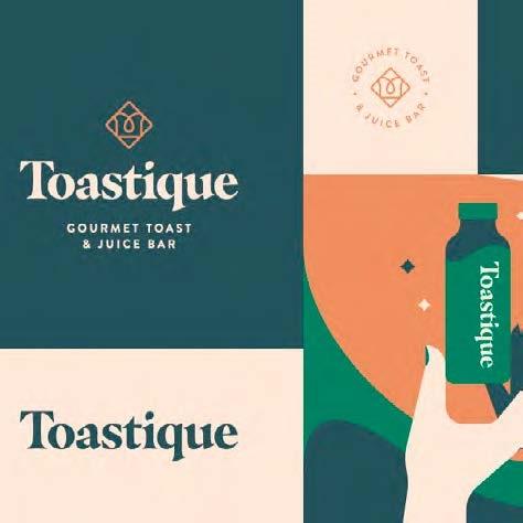 Grafică realizată de Levi Lowell pentru brandul Toastique, utilizând fontul serif