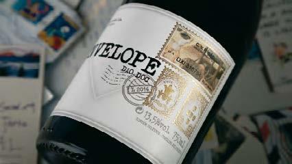 Eticheta pentru vinul Ribeiro Santo Envelope (Portugalia), înnobilată cu folie aurie