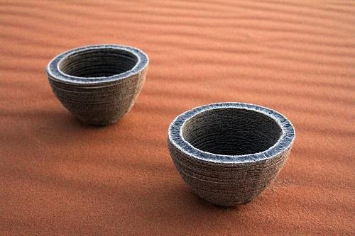 Obiecte din nisip realizat cu Solar Sinter