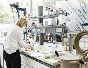 Prof. Dr. Zollner-Croll pregătind tulpinile de sparanghel în laboratorul Universității de Științe Aplicate din München (Imagine © Johanna Weber)